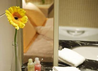 The Yellow Room - Bathroom - Sheer glass and mirror give the bathroom an airy feel